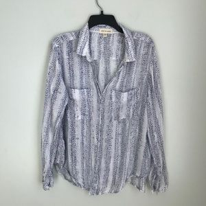 Anthro Cloth & Stone Button Down Blouse Semi Sheer